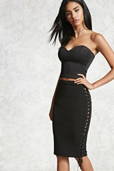 Forever 21 Lace Up Bodycon Skirt Black
