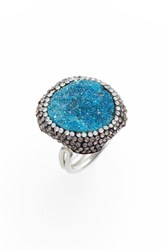 Elise M. Goddess Drusy And Crystal Ring Turquoise