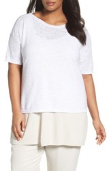 Eileen Fisher Plus Size Women's Organic Linen And Cotton Short Sweater White