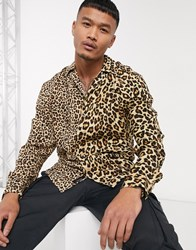 Liquor N Poker Spliced Shirt In Leopard Print Multi