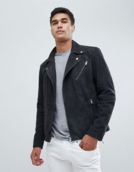 Selected Homme Nubuck Leather Biker Jacket Grey
