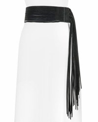 Neiman Marcus Asymmetric Fringe Stretch Belt Black