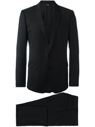 Dolce And Gabbana Embroidered Two Piece Suit Black