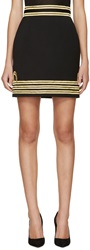 Dsquared Black And Gold Wool Captain Miniskirt