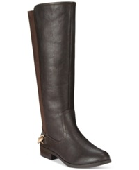 Nautica Ridgeland Wide Calf Riding Boots Women's Shoes Brown