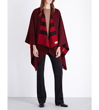 Burberry Charlotte Reversible Wool Cape Parade Red