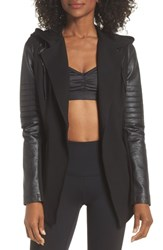Blanc Noir Hooded Moto Blazer With Faux Leather Sleeves Black