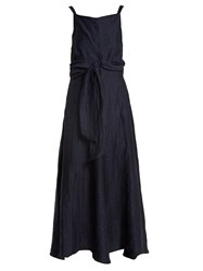 Masscob Square Neck Waist Tie Linen Blend Dress Navy