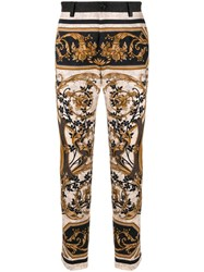 Dolce And Gabbana Baroque Print Cropped Trousers Brown