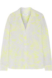 Equipment Adalyn Printed Washed Silk Shirt Bright Yellow