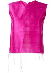 Marques Almeida Marques'almeida Open Back Frayed Tank Pink And Purple