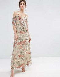 Asos Ruffle Cold Shoulder Maxi Dress In Vintage Floral Print Multi