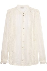 Zimmermann Ruffle Trimmed Metallic Striped Silk Chiffon Shirt White