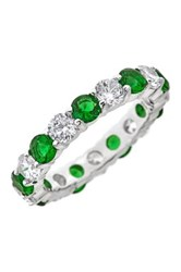Sterling Forever Silver Emerald Cz Celebration Band Ring Metallic