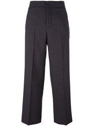Incotex Checked Wide Leg Trousers Brown