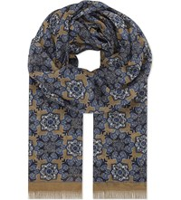 Eton Kaleidoscope Modal And Cotton Blend Scarf Offwhite Brown