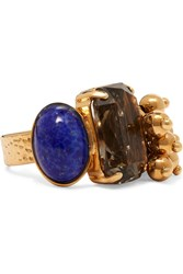Etro Gold Plated Crystal Ring Gold Blue