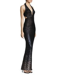 Abs By Allen Schwartz Ombre Sequin Halter Gown Black Ombre Sequins
