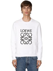 Loewe Anagram Embroidery Cotton Crewneck White