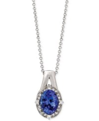 Le Vian Tanzanite 1 Ct. T.W. And Diamond 1 10 Ct. T.W. Oval Pendant Necklace In 14K White Gold