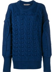 Preen Line Oversized Cable Knit Jumper Blue