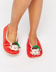 Asos Nicholas Christmas Elf Slippers Red Glitter Fur