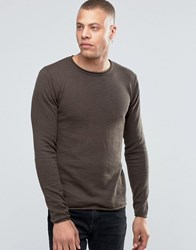 Solid Raw Edge Crew Neck Knit Coffe 5617 Brown