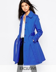 Helene Berman Single Breasted Classic Trench In Royal Blue Royal Blue