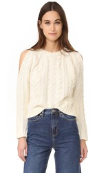 Anine Bing Cut Out Shoulder Sweater Cream