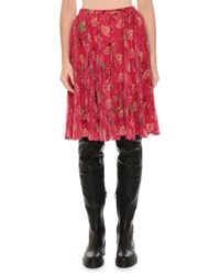 Valentino Floral Circle Pleated Skirt Pink Pattern