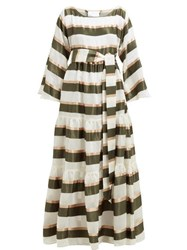 492f5ccaee Lisa Marie Fernandez Tiered Striped Voile Maxi Dress Green White