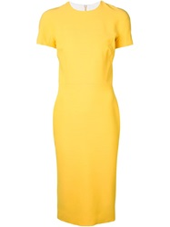 Victoria Beckham Shortsleeved Fitted Dress Yellow And Orange