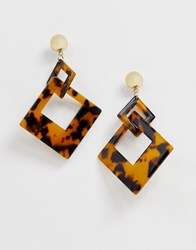 Ny Lon Nylon Resin Hanging Square Earrings Multi