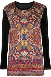Just Cavalli Printed Satin And Stretch Modal Top