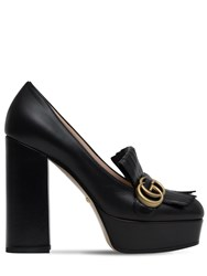 Gucci 120Mm Marmont Fringed Leather Pumps Black