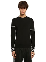 Neil Barrett Viscose Blend Intarsia Knit Sweater Black