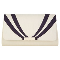 Jacques Vert Stripey Bow Bag Light Neutral