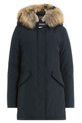Woolrich Luxury Arctic Down Parka With Fur Trimmed Hood Blue