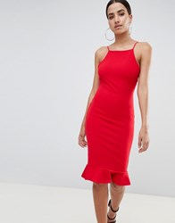 Missguided High Neck Frill Hem Midi Dress Red