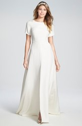 Women's Sarah Seven 'Sullivan' Back Cutout Short Sleeve Silk Crepe Gown
