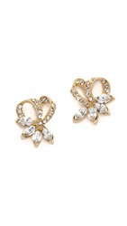 Ben Amun Bow Crystal Earrings Clear Gold