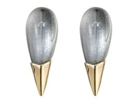 Alexis Bittar Liquid Metal Capped Spike Post Clear Lucite Earrings Cool Grey Clear Earring Gold