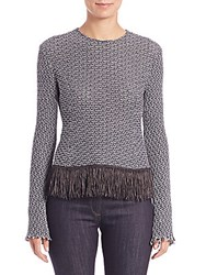 Derek Lam Crochet Tweed Fringe Trim Top Multicolor