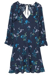 Mango Flowy Printed Dress Navy