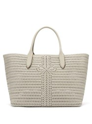 Anya Hindmarch The Neeson Large Woven Leather Tote Bag White