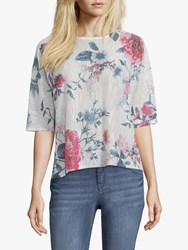 Betty And Co. Floral Blossom Print Three Quarter Sleeve Top White Blue
