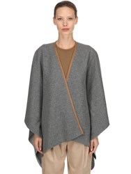Agnona Cashmere Cape W Leather Trim Grey