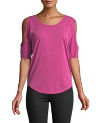 Casual Couture Scoop Neck Cold Shoulder Tee Fuchsia