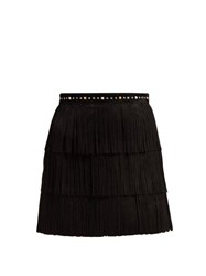 Miu Miu Fringed Suede Mini Skirt Black
