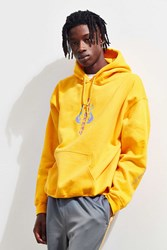 Urban Outfitters Embroidered Life Time Hoodie Sweatshirt Gold